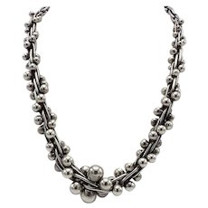 Taxco Sterling Silver Mexican Necklace with Graduated Beads