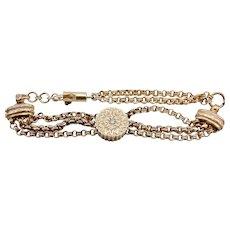 14K Gold Watch Fob Bracelet with Single Cut Diamond