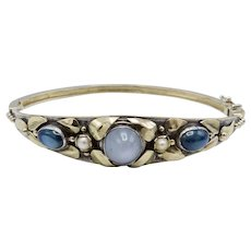 Arts & Crafts Up-cycled Bracelet: 14KT Gold & Sterling Silver with Sapphires and Pearls