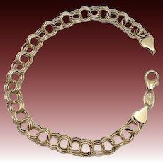 Vintage 14KT Gold Triple Cable Infinity Charm Bracelet