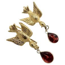 14KT Gold & Gold Fill Victorian Swallow Earrings with Garnets