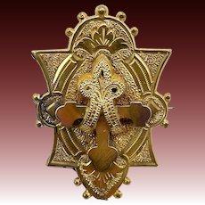 Victorian Gold Plate Cross Brooch