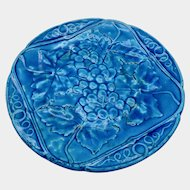 Antique French Copper Blue Ceramic Plate with Grapes