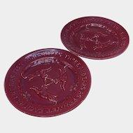 Red Rabbit Antique German Serreguemines Ceramic Plates