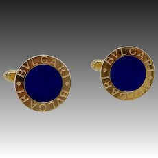 Distinctive Vintage 18K Gold & Lapis Bulgari Cufflinks