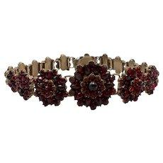 Victorian Era Bohemian Garnet Flower Bracelet