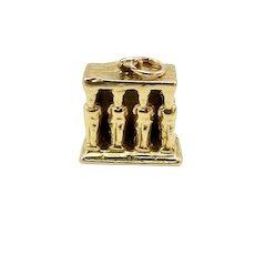 Vintage 18K Gold Porch of Caryatids Erechtheion Greek Temple Charm