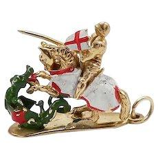 Vintage St.George Slaying a Dragon 9K Gold Charm