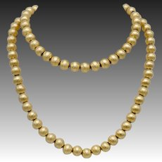 Vintage Florentine Finish 14KT Gold Bead Necklace on Chain