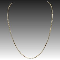 Vintage 9KT Yellow Gold Bar Link Chain