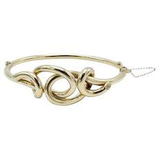 9KT Gold Victorian Lover's Knot Bangle Bracelet