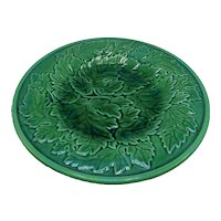A Pair of Portuguese Green Leaf Majolica Dishes