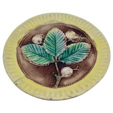 Antique Majolica Leaf & Flower Plate