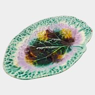 Victorian Majolica Lily Pad Shaped Leaf Platter