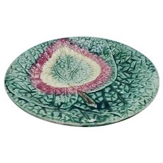 Victorian Majolica Round Leaf Plate