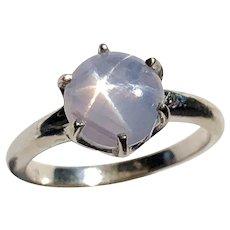 Milky Blue Star Sapphire & 14K White Gold Ring