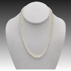 Cultured Vintage Akoya Pearl Necklace with Sterling Silver Clasp