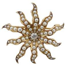 14K Gold Pearl & Diamond Victorian Star Pendant-Brooch