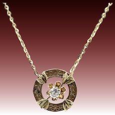 14K Gold Victorian Era Diamond Necklace