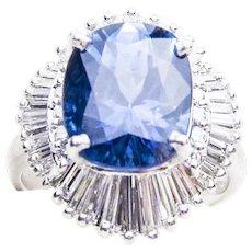 Midcentury 7.26 Carat Sapphire Ballerina Skirt Ring