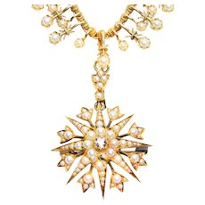 Circa 1870 Seed Pearl and Diamond Necklace