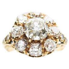 2.52 Carat Victorian Diamond Cluster Ring