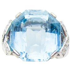 Retro Aquamarine & Diamond Cocktail Ring