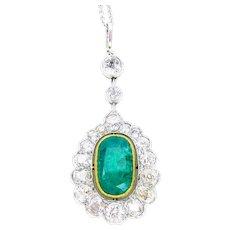 Edwardian Emerald & Diamond Halo Necklace