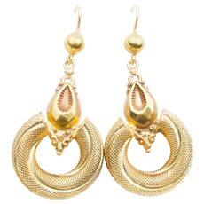 Victorian 9KT Ornate Hoop Earrings