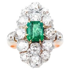Edwardian Diamond & Emerald Navette Ring