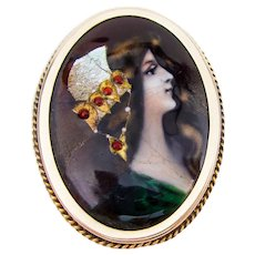 Victorian Hand-Painted Portrait Brooch