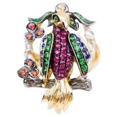 Midcentury Gemstone Parrot Ring