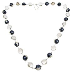 Art Deco Black and White Pools of Light Necklace