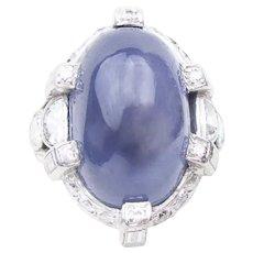 Art Deco Star Sapphire & Diamond Ring