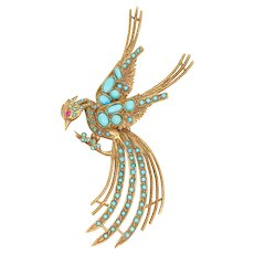 Gold Bird Brooch with Turquoise