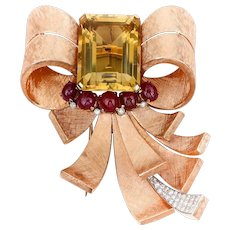 Retro Brushed Gold Bow Brooch with Citrine & Rubies