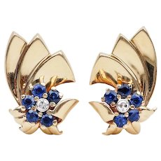 Gold Retro Earrings with Sapphire Halos