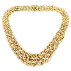 Late-Midcentury Gold Graduated Woven Necklace