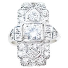 Art Deco North-South Diamond Ring
