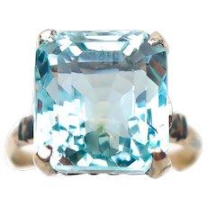 Art Deco Aquamarine Cocktail Ring