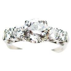 Midcentury Diamond & Platinum Engagement Ring