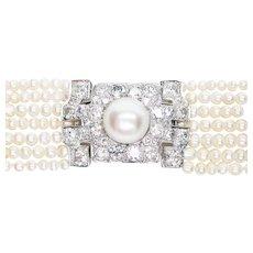 Art Deco Pearl & Diamond Choker