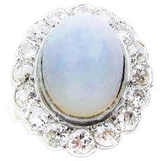 Art Deco Opal & Diamond Halo Ring