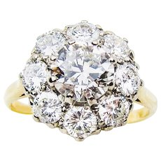 Retro-Era Diamond Cluster Ring