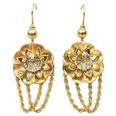 Victorian Diamond & Enamel Flower Chain Earrings
