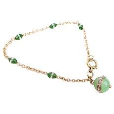 Art Deco Chrysoprase, Diamond, and Quartz Bracelet