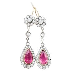 Victorian Pink Tourmaline and Diamond Drop Earrings