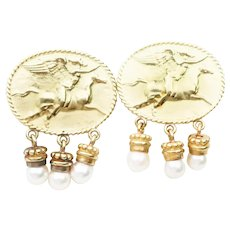 Vintage Italian Gold Earrings with Pearl Drops
