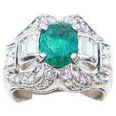 Midcentury Platinum Emerald and Diamond Ring