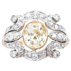 Midcentury Fancy Yellow Diamond Cluster Ring
